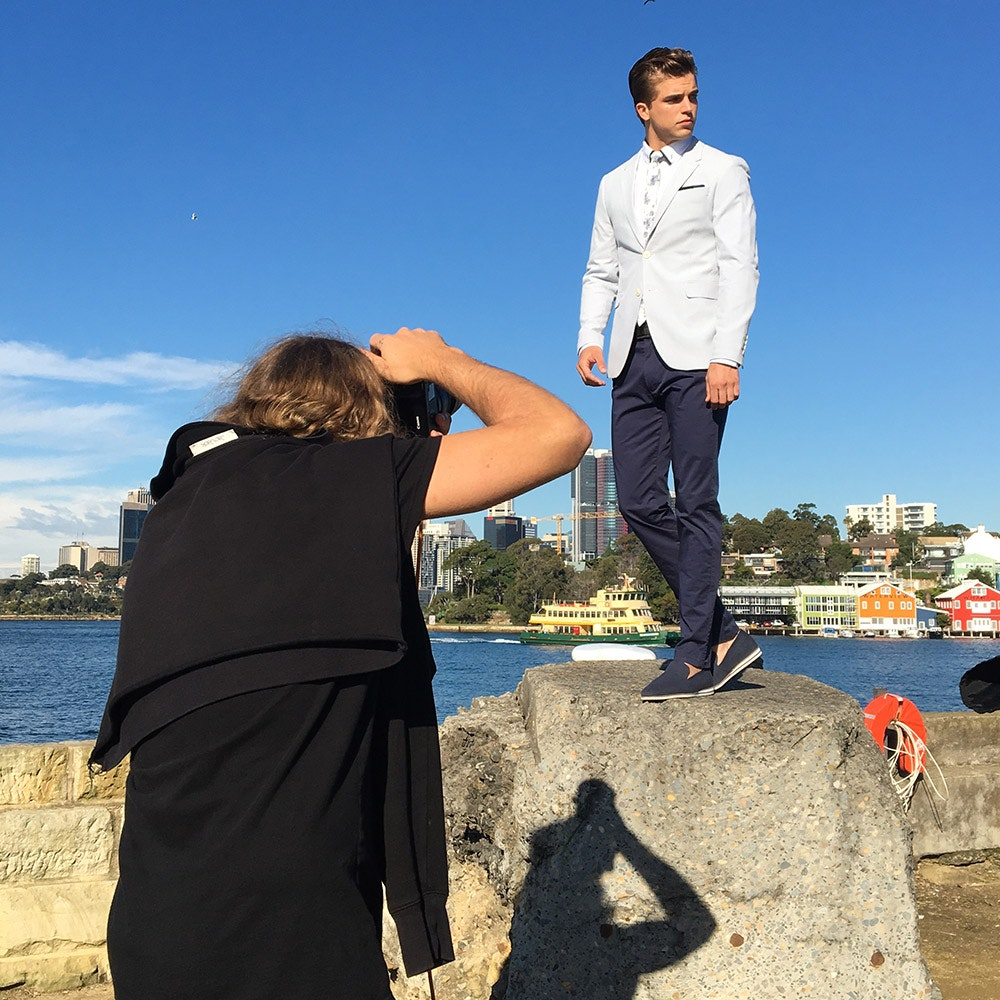 Behind the scenes: River in a blazer and chinos