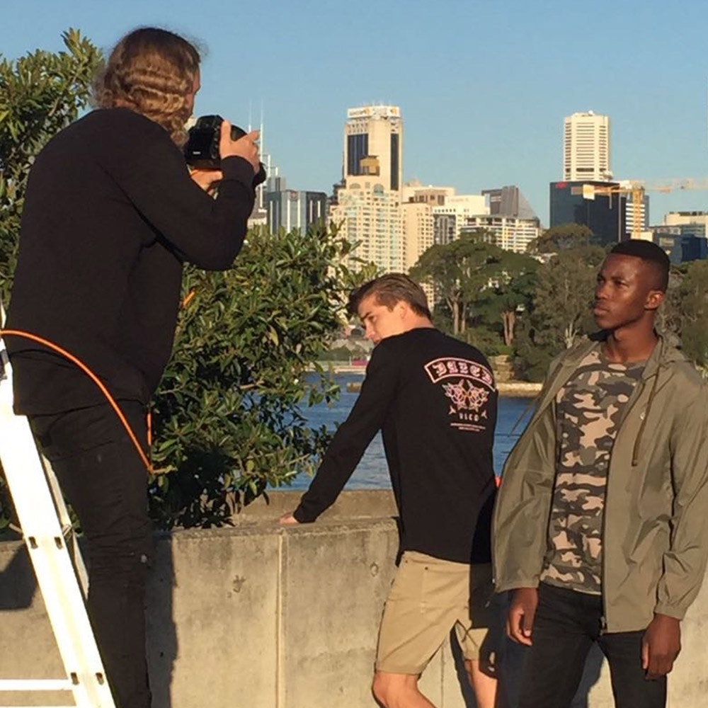 Behind the scenes: the guys showing off a little casual military style.