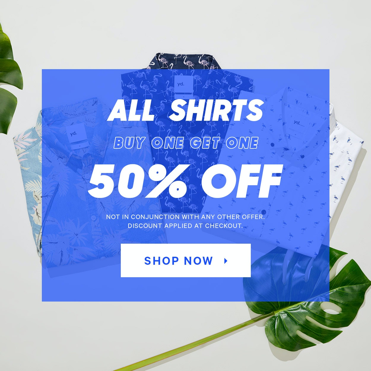 Buy one, get one 50% off shirts