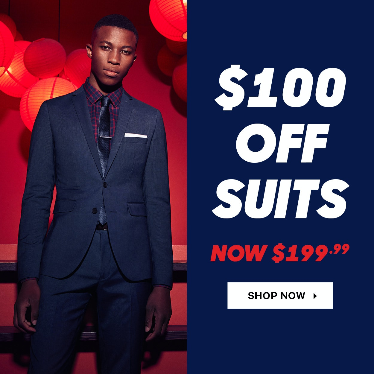 Save $100 Off Suiting at yd.