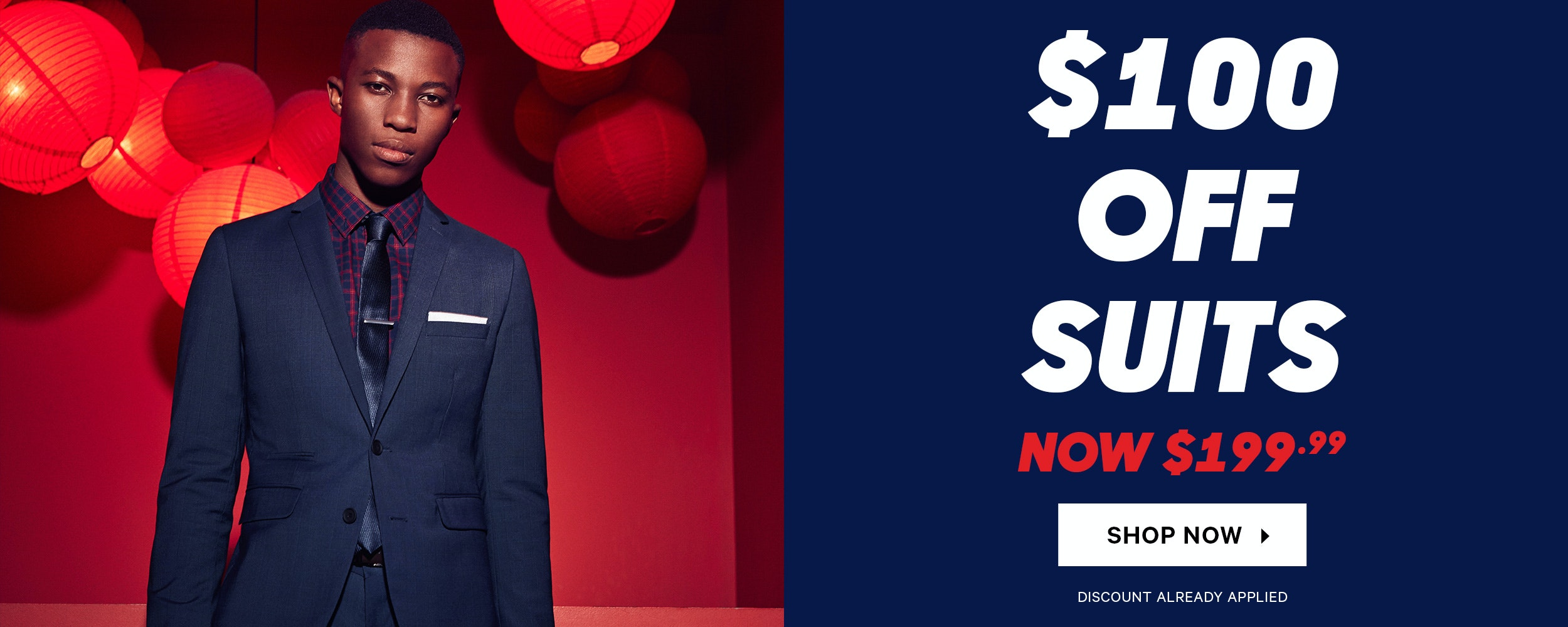 Save $100 Off Mens Suits at yd