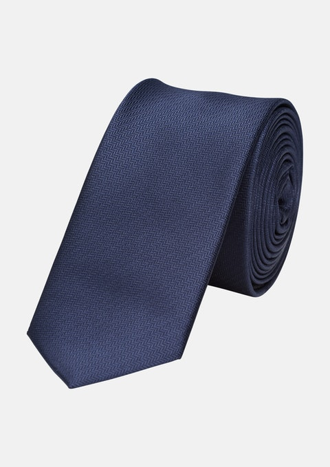Dark Blue Herringbone 5cm Tie