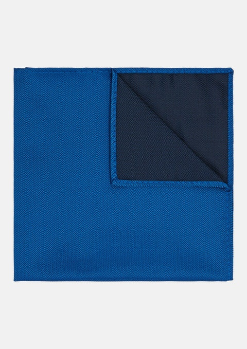 Cobalt Herringbone Pocket Square