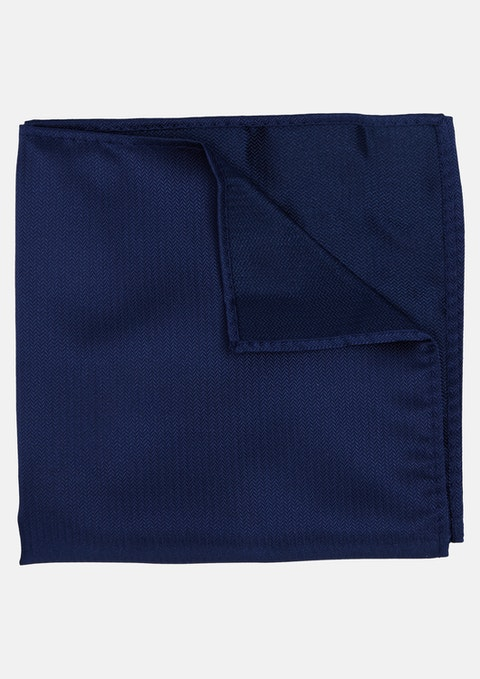 Navy Herringbone Pocket Square