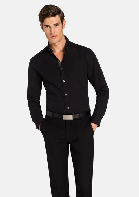 Black Euro Floral Trim Slim Fit Shirt