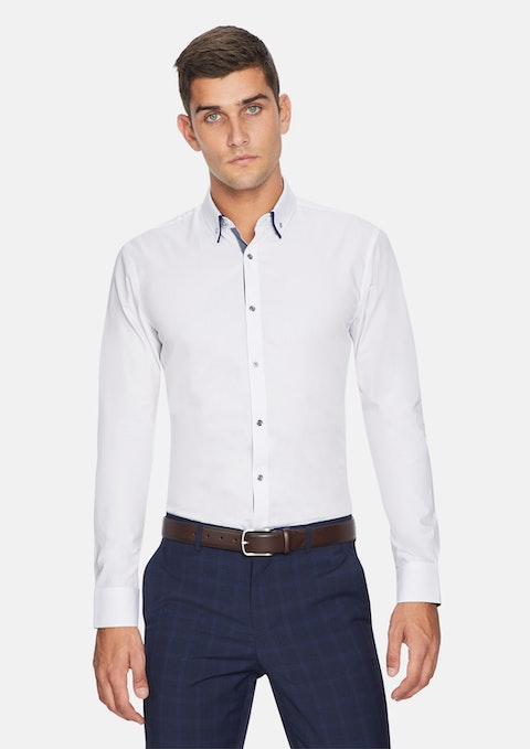 White Euro Floral Trim Slim Fit Shirt