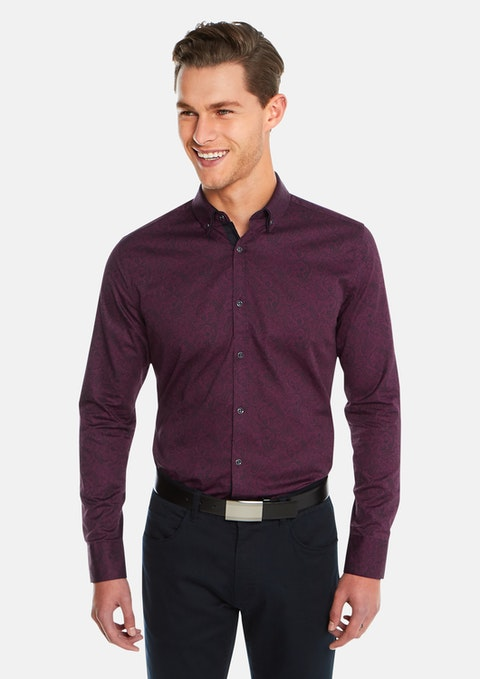Burgundy Paisley Slim Fit Shirt