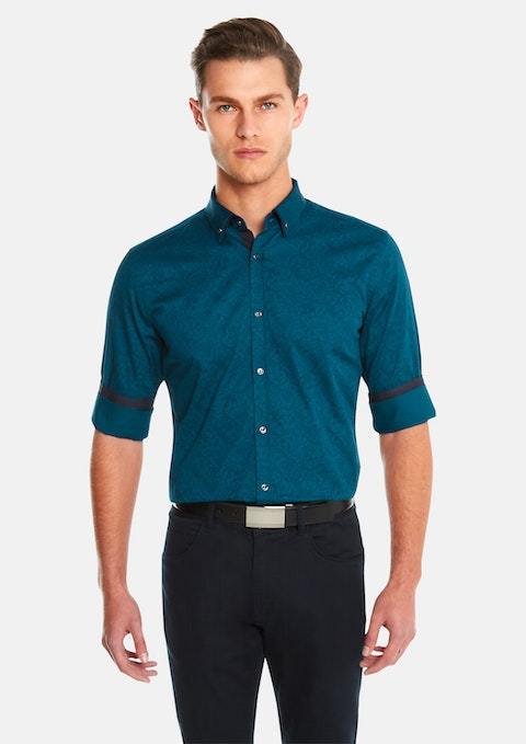 Teal Paisley Print Slim Fit Shirt