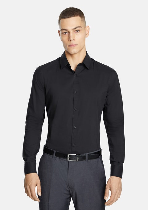 Black Plain Stretch Slim Fit Shirt