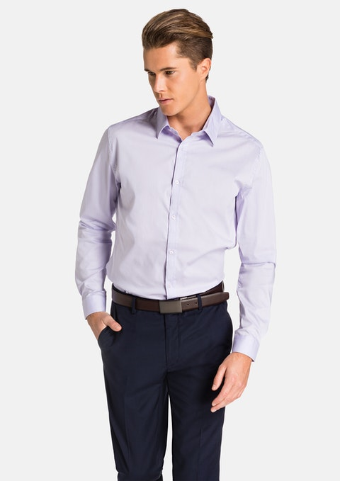 Purple Plain Stretch Slim Fit Shirt