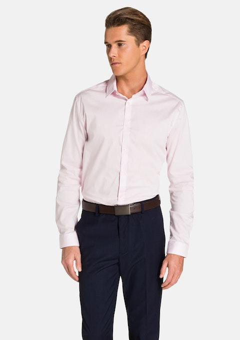 Pink Plain Stretch Slim Fit Shirt