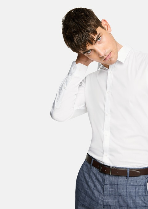 White Plain Stretch Slim Fit Shirt