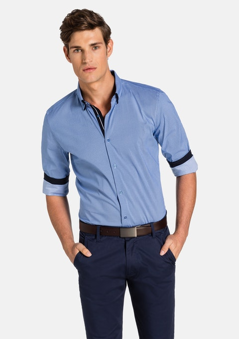 Bright Blue Leeman Slim Fit Shirt