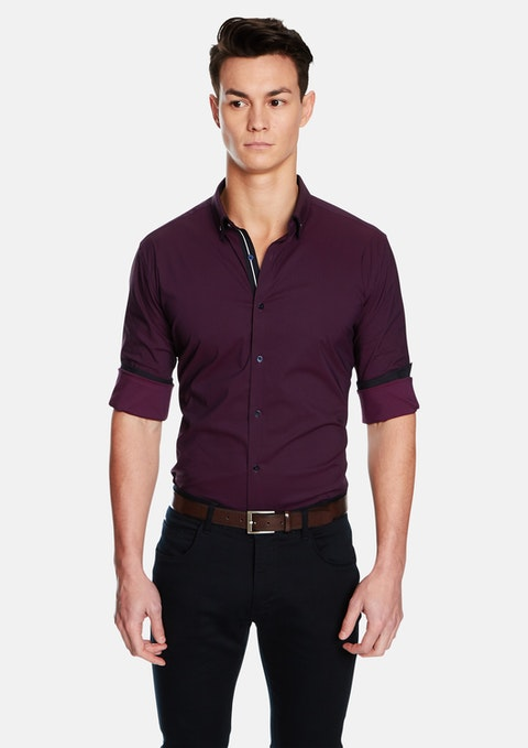 Burgundy Leeman Slim Fit Shirt