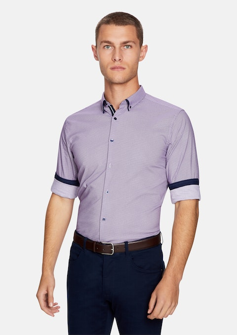 Purple Leeman Slim Fit Shirt