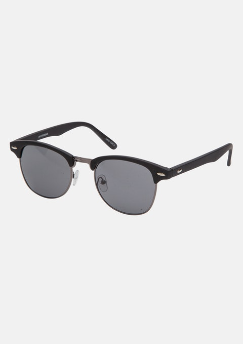 Black Retro Mat Black Sunglasses