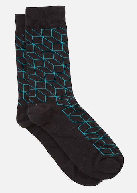 Black Geo Design Sock