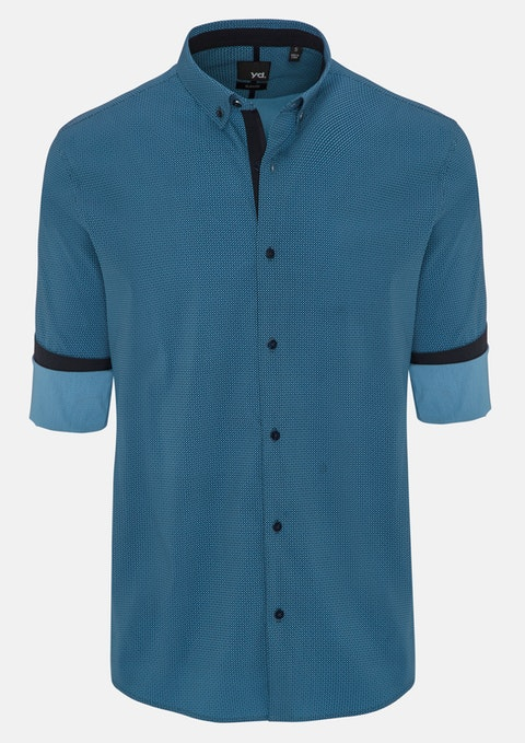 Teal Clovis Slim Fit Shirt