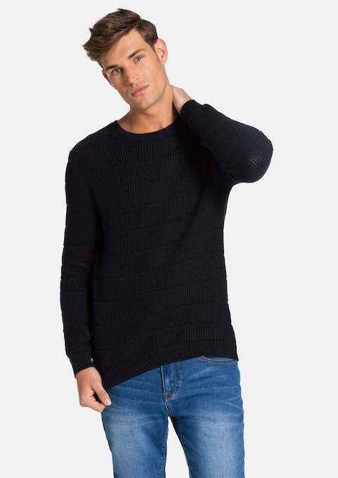 Navy Ribbie Knit