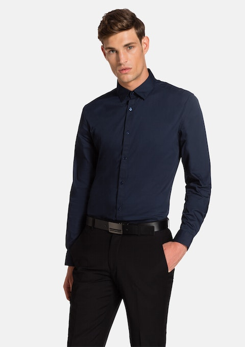 Navy Whitman Slim Fit Dress Shirt