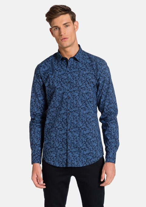 Navy Venetian Slim Fit Shirt