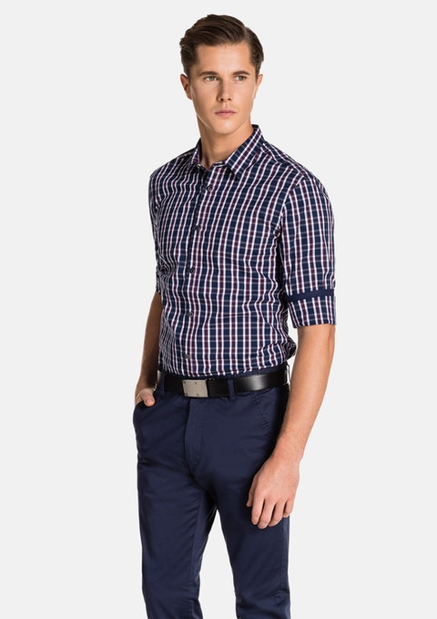 Navy Check Cosmopolitain Slim Fit Shirt