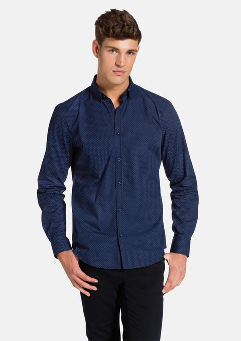 Navy Verbier Slim Fit Shirt