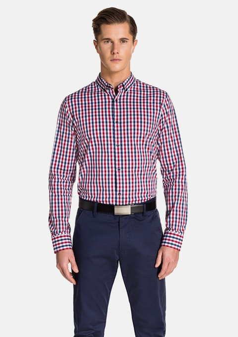 Red/blu Montague Slim Fit Shirt