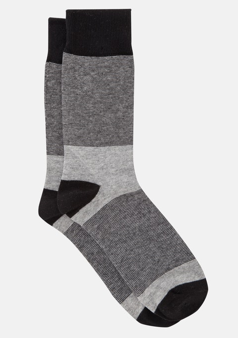 Black Feeder Stripe Sock