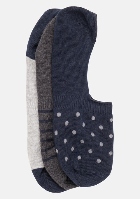 Navy Karl Invisible 3 Pack Sock