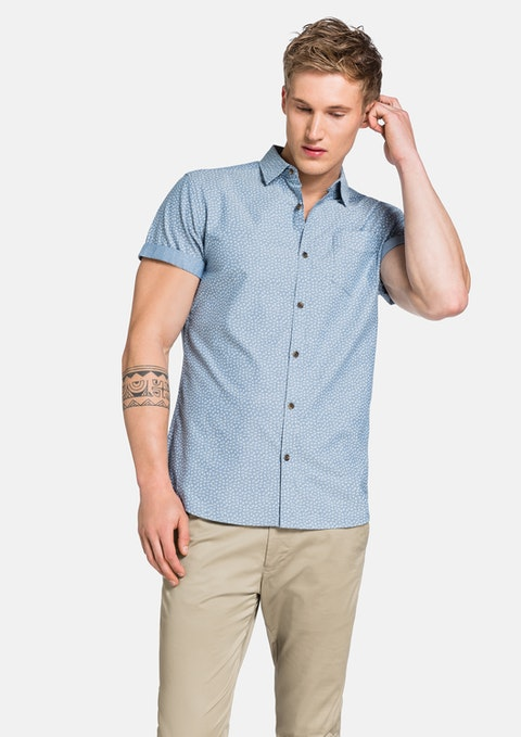 Blue Printed Chambray Ss Shirt