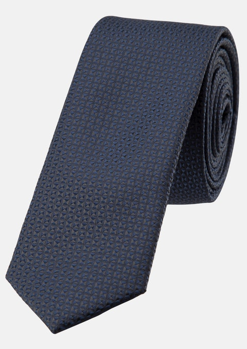 Navy Staple Textured Tie