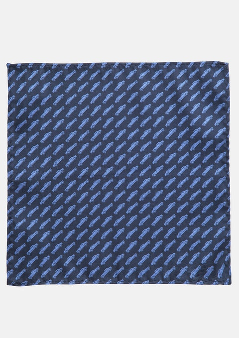 Navy Automobile Pocket Square