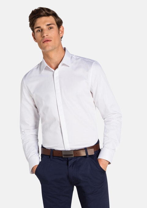 White Garrick Slim Dress Shirt
