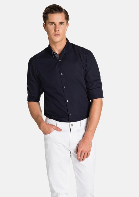 Navy Pascoe Slim Fit Shirt