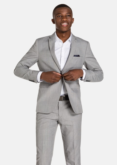 Silver Grey Check Charles Skinny Suit Jacket