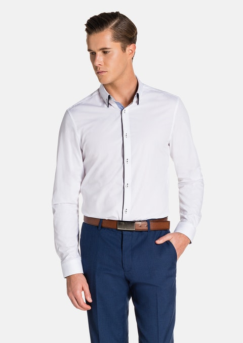 White Connaught Slim Fit Dress Shirt