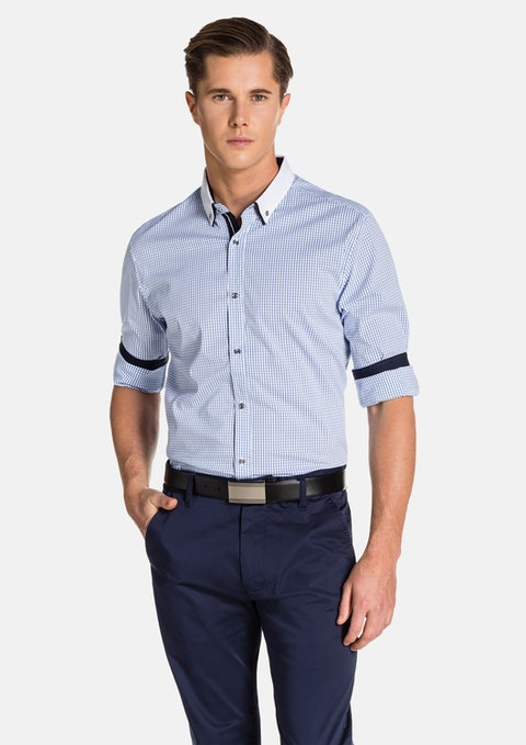 Blue/ White Lyle Slim Fit Shirt
