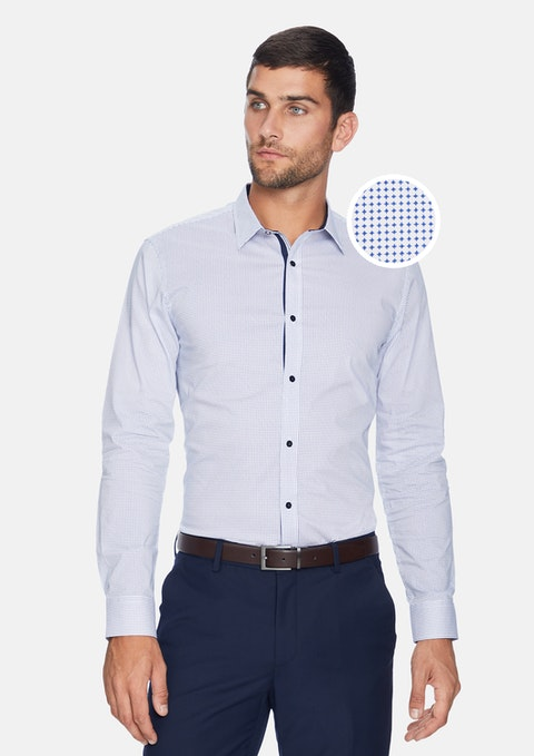 White/blue Apsley Slim Fit Shirt