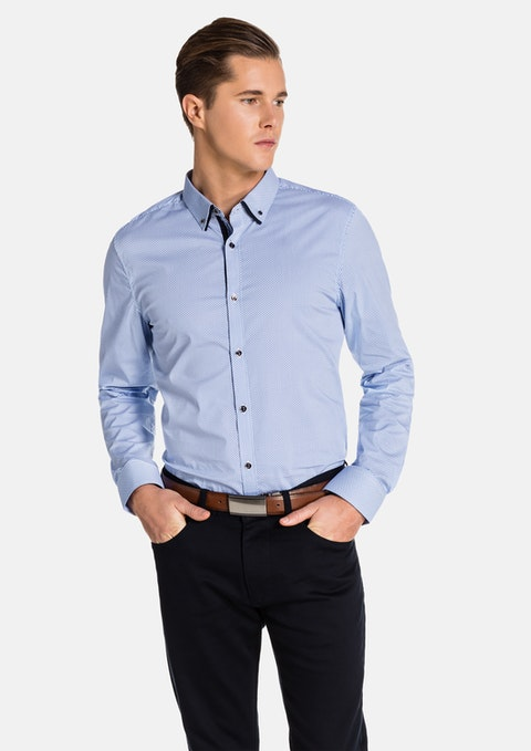 Blue/ White Langton Slim Fit Shirt