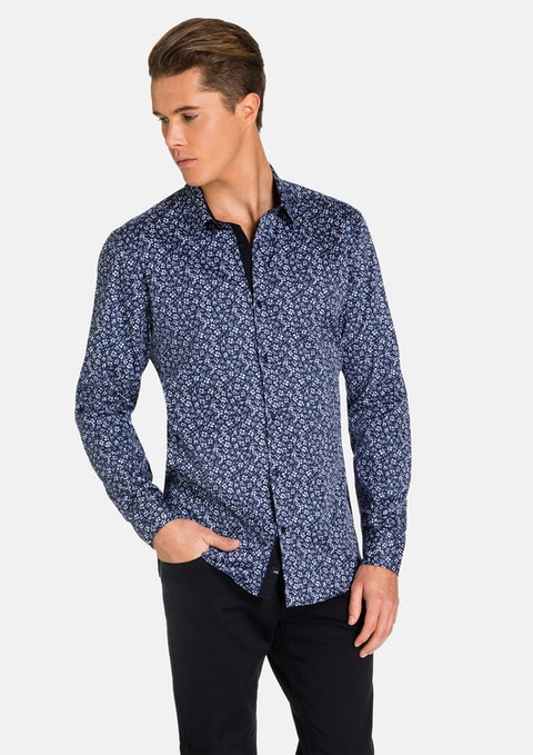 Blue/ Navy Tristan Slim Fit Shirt