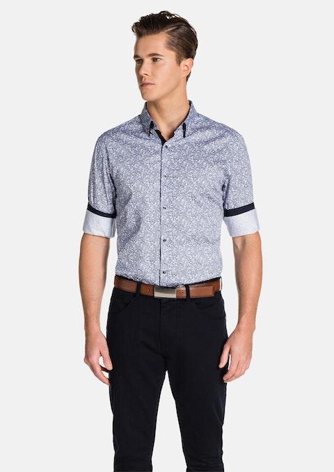 Navy/ White Lorcan Slim Fit Shirt