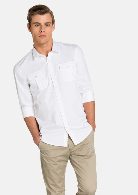 White Mateo Slim Fit  Shirt
