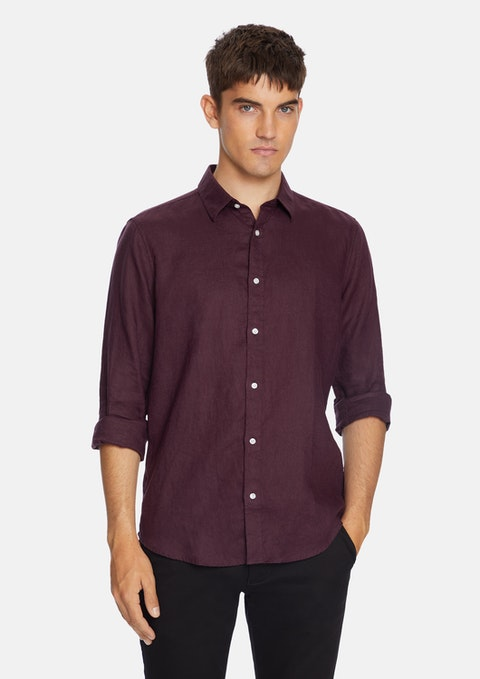 Burgundy West Hampton Linen Shirt