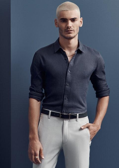 Dark Blue West Hampton Linen Shirt