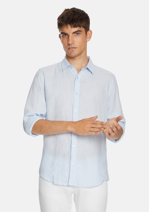 Ice Blue West Hampton Pure Linen Shirt