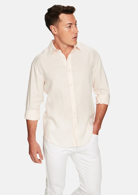 Peach West Hampton Linen Shirt
