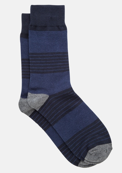 Navy Multi Stripe Sock