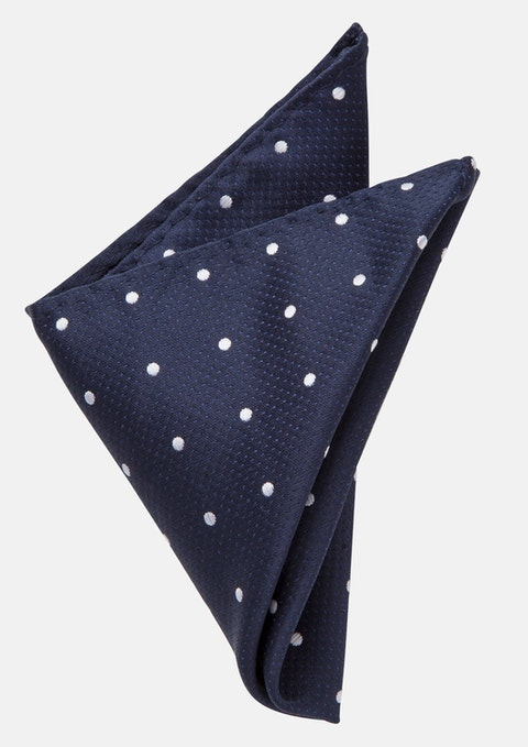 Navy/silver Morrison Pocket Square