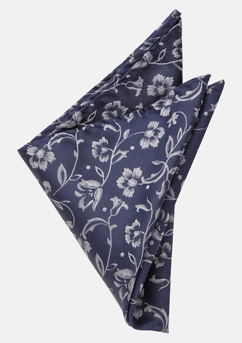 Navy/grey Bowie Pocket Square